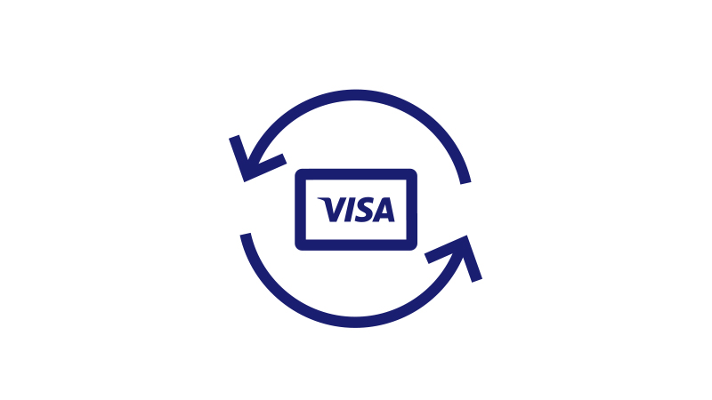 Illustration of a Visa card, bordered by two arrows.